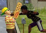 Kampf der schwarzen kerl mit einem hipster jungen