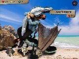 Tapferer krieger kampft mit einem riesigen strand monster