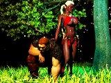 Schwarze prinzessin von arda und ihr monster mannlich krieger