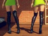 Stiefel fetisch mit einem latex schuhe und nackten fuse