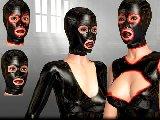 Latex masken und schmutzigen sex mit weiblichen hauben