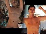 Musculat stehbolzen und homosexuell mit eine muskulose brust