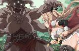 Nutaku machtige hentai krieger kampft mit einem drachen
